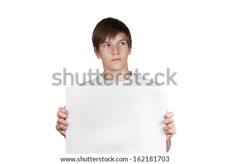 Smart boy with sheet of paper isolated on white