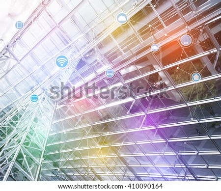 smart building and wireless communication network, abstract image visual, internet of things - stock photo