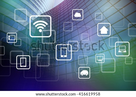 smart building and wireless communication network, internet of things(IoT), abstract image visual - stock photo