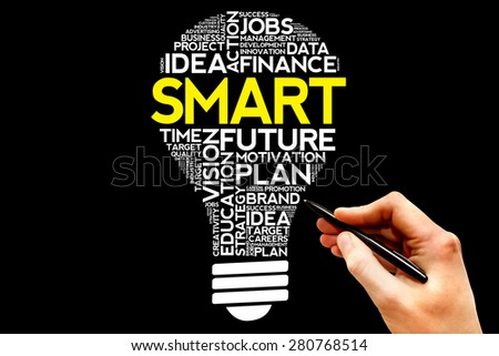 SMART bulb word cloud, business concept - stock photo