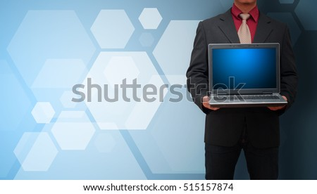 Smart business man and polygon background