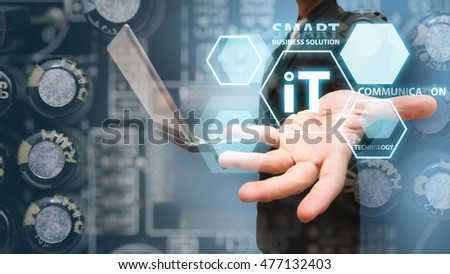 Smart business man and technology background concept
