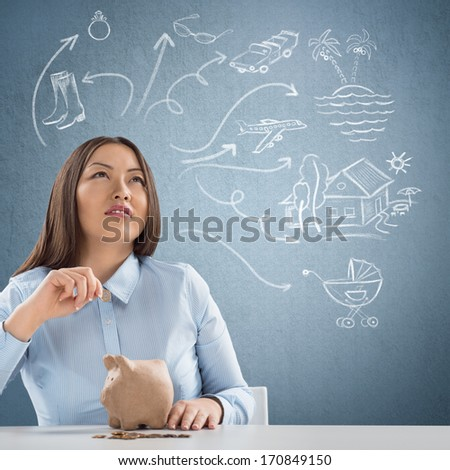 Smart business woman thinking. Sketches with her thoughts overhead - stock photo