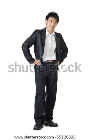 Smart businessman of Asian standing against white background.
