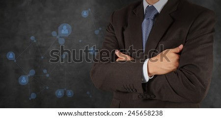 smart businessman with social network structure as concept  - stock photo