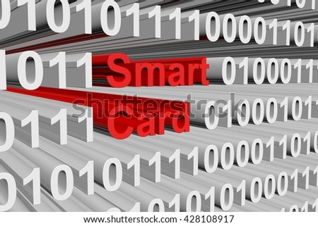 smart card in the form of binary code, 3D illustration