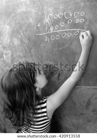Smart child (girl age 5-6) calculat and solve hard mathematic equation on a cluck board in school. Education cocept with copy space text - stock photo