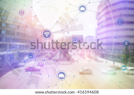 smart city and vehicles, wireless communication network, internet of things, abstract image visual - stock photo