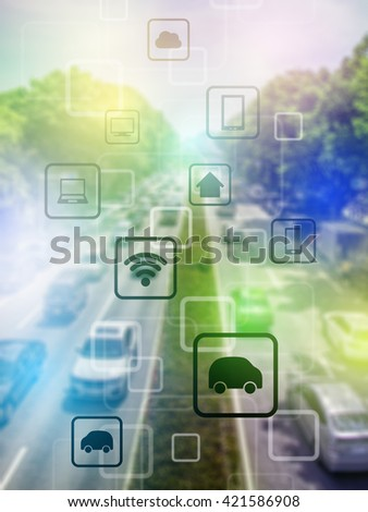 smart city and vehicles, wireless communication network, internet of things, abstract image visual