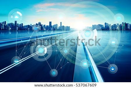 Smart City Wireless Communication Network Abstract Stock Photo ...