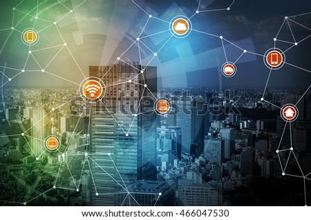 Smart Logistics Wireless Communication Network Abstract Stock ...