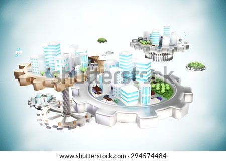 Smart city on gears - with park and cars - stock photo