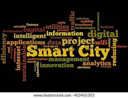 Smart City, word cloud concept on black background.