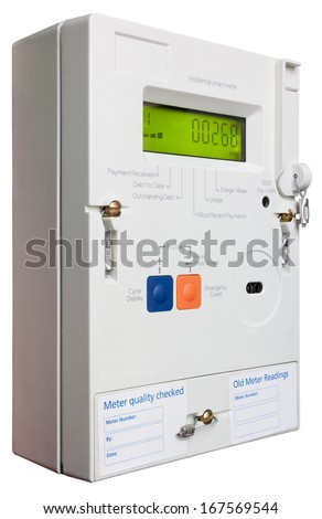Smart domestic electricity meter isolated on white with clipping path - stock photo