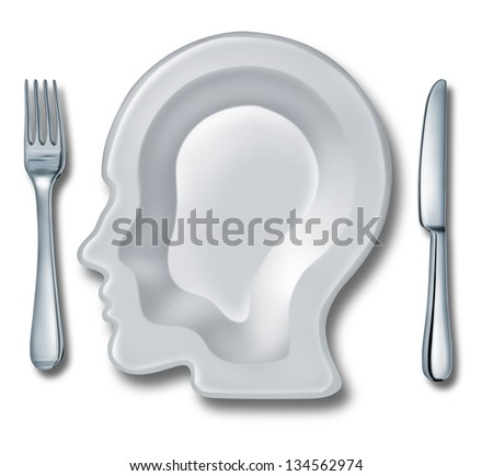 Smart eating and recipe menu planning with a white ceramic plate in the shape of a human head as an intelligent food guide concept for healthy living and dieting choices. - stock photo