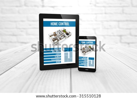 smart energy controller or remote home control online home automation system on a digital tablet and smartphone. All screen graphics are made up. - stock photo