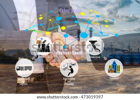 Smart factory or Industry 4.0 concept. Cyber - Physical connection on  business shake hand and industrial infrastructure background.