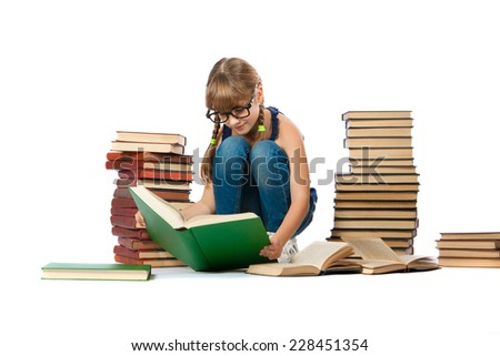 smart girl reading a book on white background
