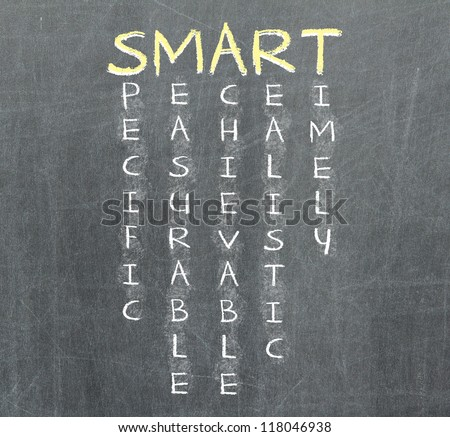 Smart goal or objective setting - specific - measurable - achievable realistic - timely on chalkboard - stock photo