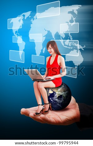 Smart hand hold Lady on globe and world map background : Elements of this image furnished by NASA