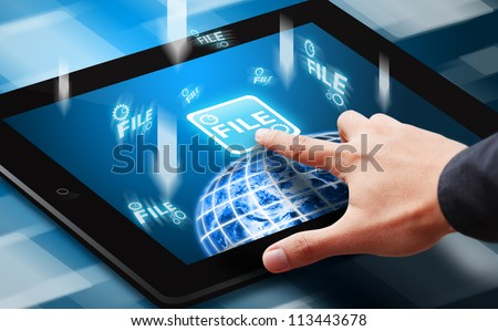 Smart hand press on File download button on tablet - stock photo