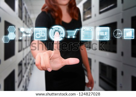 Smart hand press on icon control the system in data center room - stock photo