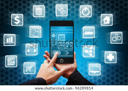 Smart hand press on mobile phone and many icon - stock photo