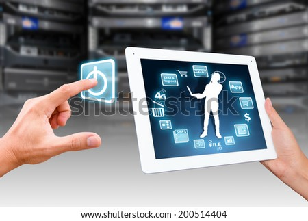 Smart hand push on power icon to start the system - stock photo