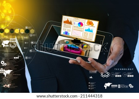 Smart hand showing stock chart showing the computer monitor - stock photo