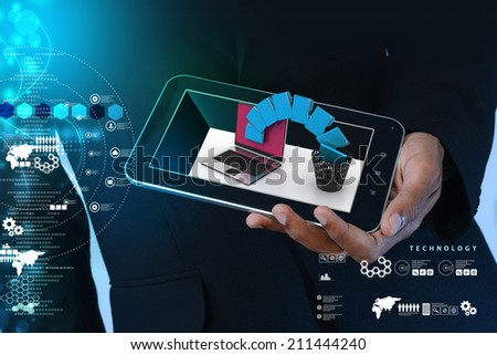 Smart hand showing tablet computer with file transfer - stock photo