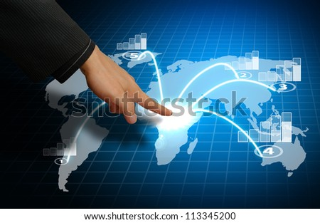 Smart hand take control the world graph report - stock photo