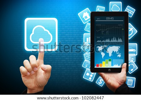 Smart hand touch on Cloud computing icon from tablet computer