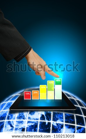 Smart hand touch on 3D graph from digital touch pad : Elements of this image furnished by NASA