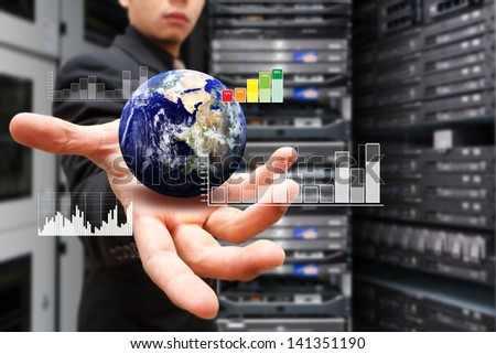 Smart hand with digital earth : Elements of this image furnished by NASA - stock photo