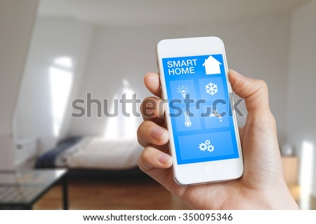 Smartphone Home Automation smart home automation app on smartphone stock photo 350095346