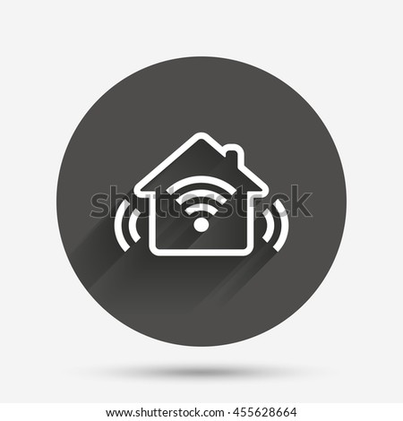 Smart home sign icon. Smart house button. Remote control. Circle flat button with shadow.