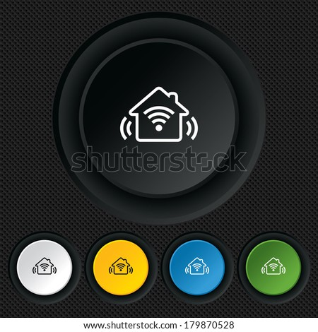 Smart home sign icon. Smart house button. Remote control. Round colourful buttons on black texture.