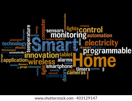 Smart Home, word cloud concept on black background.