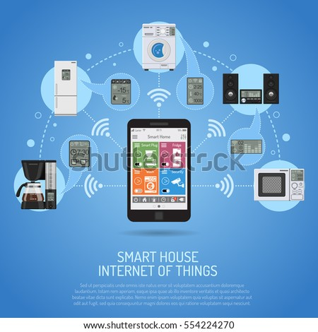 Smart House and internet of things concept. smartphone controls smart home like smart plug, fridge coffee maker washer microwave and music center flat icons. illustration