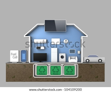 smart house concept powered by fuel cell,without text description - stock photo