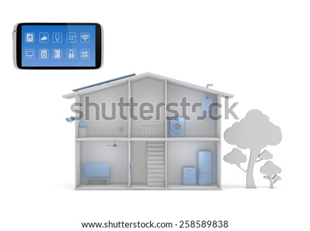 Smart house concept with smartphone app control panel - stock photo