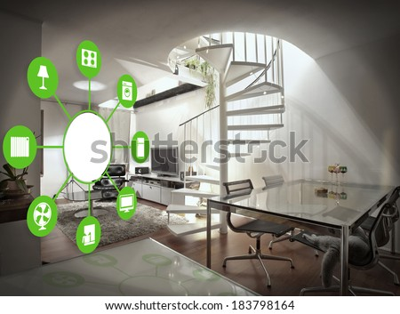 smart house device illustration with app icons