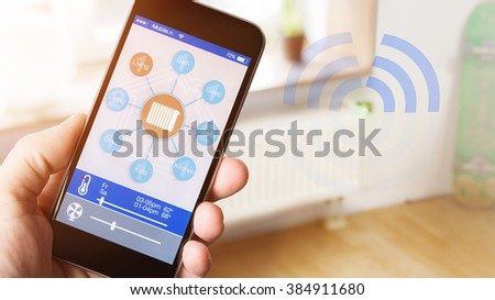 smart house home automation app on mobile phone to control the temperature of the house