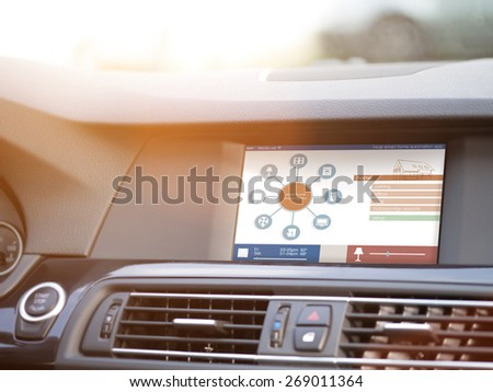 smart house, home automation, device illustration with app icons. Man is using his smart home automation car app - stock photo