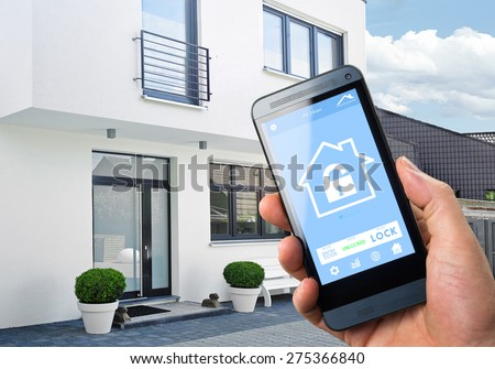 Smartphone Home Automation smart house home automation device app stock photo 275366840