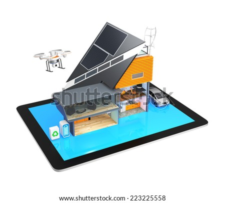 Smart house on a tablet PC. A concept for a home support by renewable energy. - stock photo