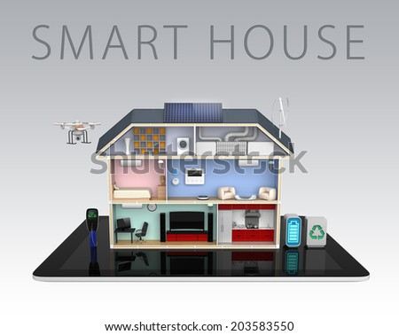 Smart house with energy efficient appliances on tablet PC (With text) - stock photo