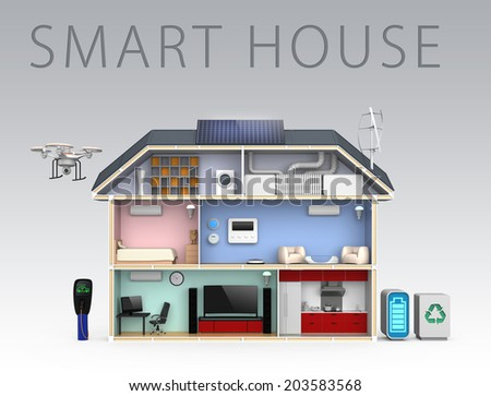 Smart house with energy efficient appliances, solar panel and wind power generator.(with text) - stock photo