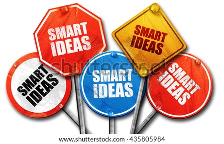 smart ideas, 3D rendering, rough street sign collection - stock photo