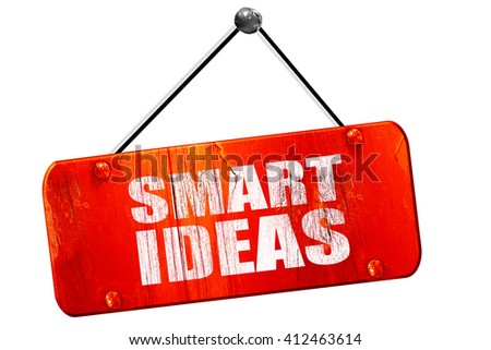smart ideas, 3D rendering, vintage old red sign - stock photo